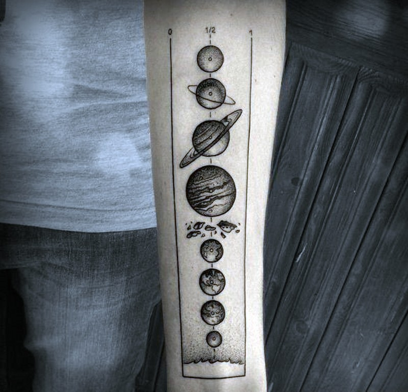 Scientific like black and white planet parade tattoo on arm
