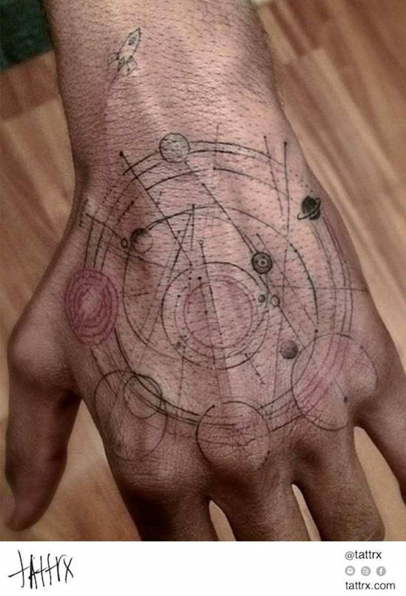 Scientific style little colored solar system tattoo on hand