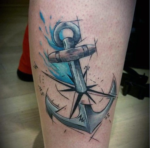 e8bc207de Scientific style painted and colored anchor with compass tattoo on leg
