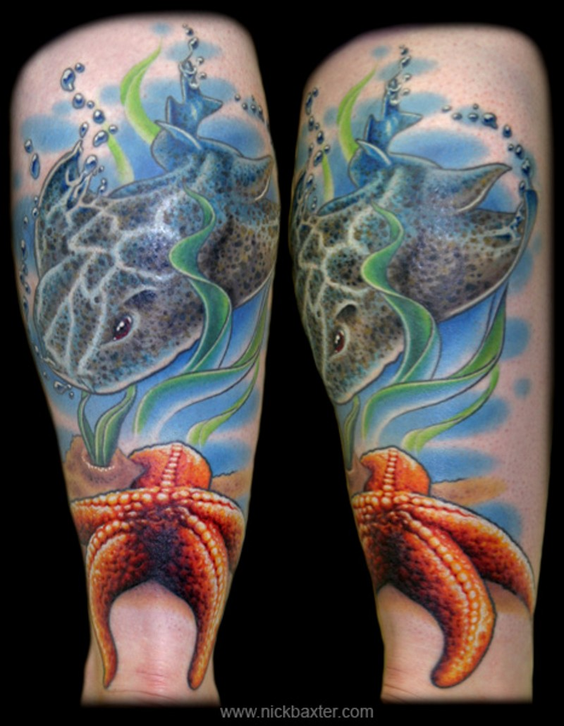 Sea bottom scenery cramp-fish and starfish detailed colored tattoo