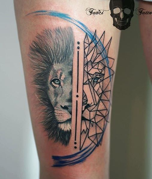 Separated black ink different lion heads