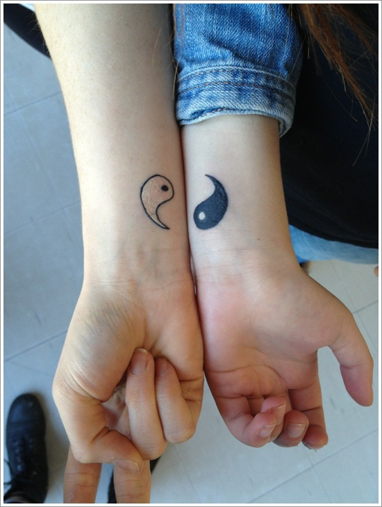 Set of two halves of yin yang