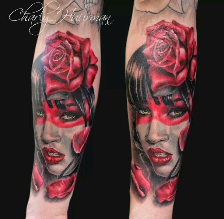 Sexy colored forearm tattoo of woman portrait with roses