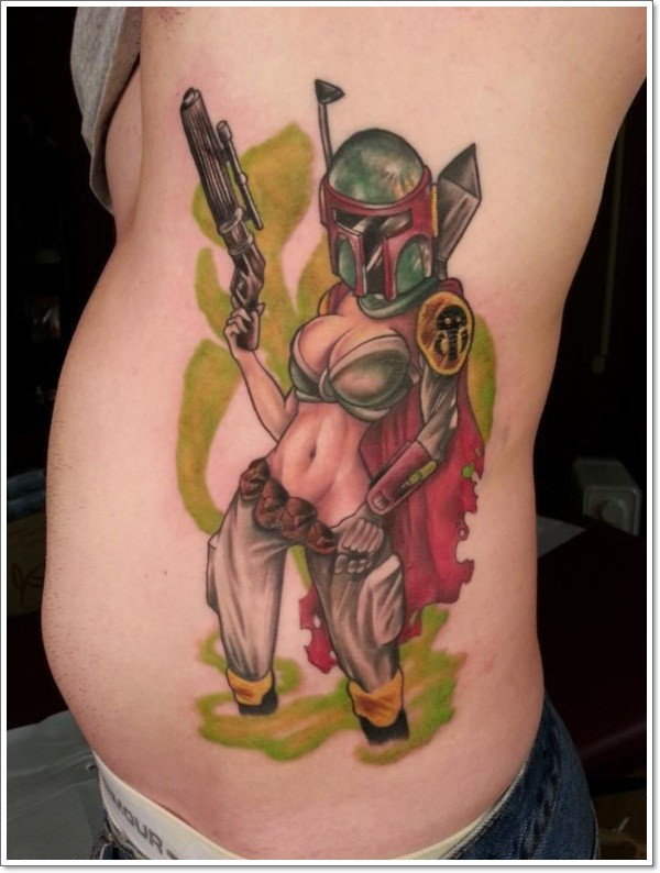 Sexy space pirate pin up girl tattoo