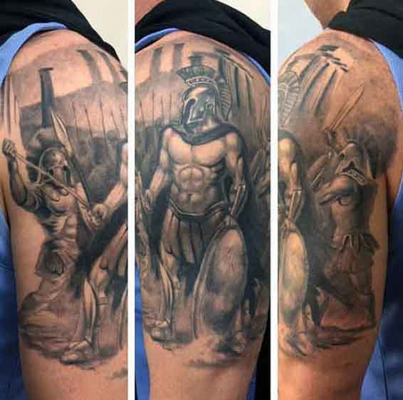 3cc4b62a1 Sharp black and white shoulder tattoo of massive epic battle ...
