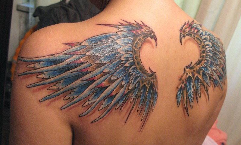 Sharp colored designed 3D realistic feather wings tattoo on upper back