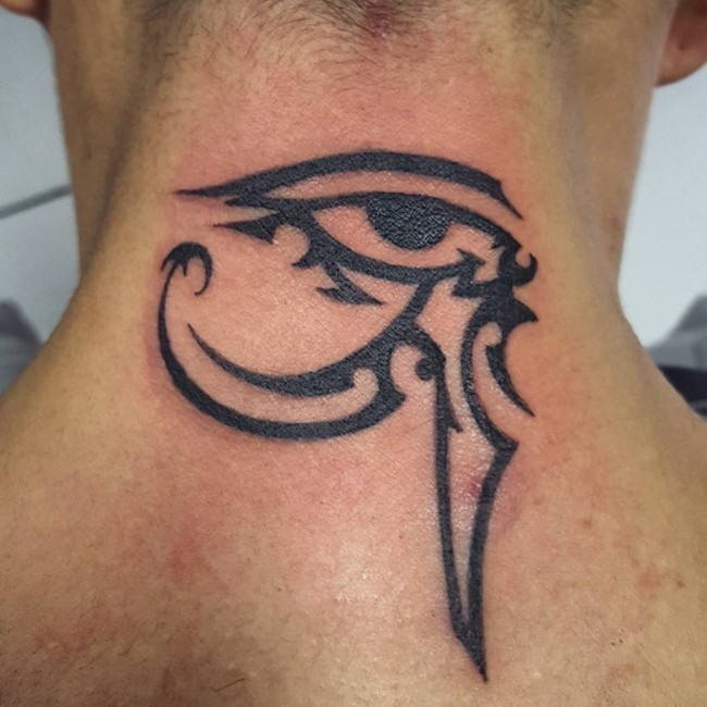 Sharp Design Dark Black Ink The Eye Of Horus Neck Tattoo In Tribal