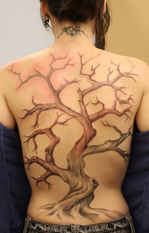 Sharp designed colored big lonely tree tattoo on whole back