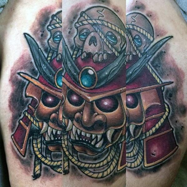 Sharp painted multicolored demonic samurai mask tattoo stylized with roped skull