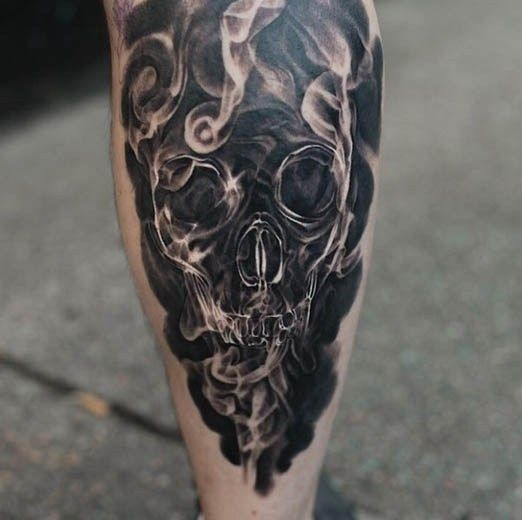 sharp painted unique transparent skull tattoo on leg with smoke. Black Bedroom Furniture Sets. Home Design Ideas