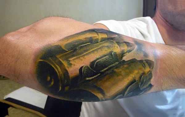 Sharp painted very realistic bullets tattoo on forearm