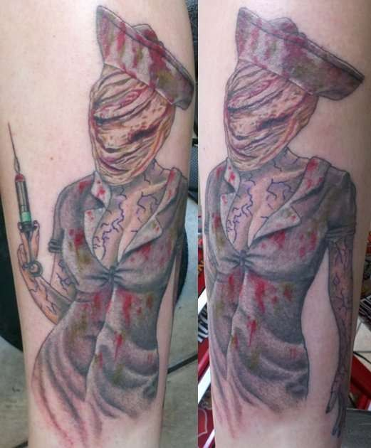 Silent Hill nurse with shot bloody and creepy colored tattoo in horror movie style