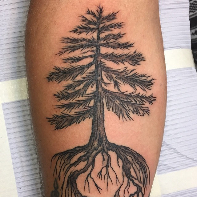 Simple big black ink tree tattoo on forearm zone