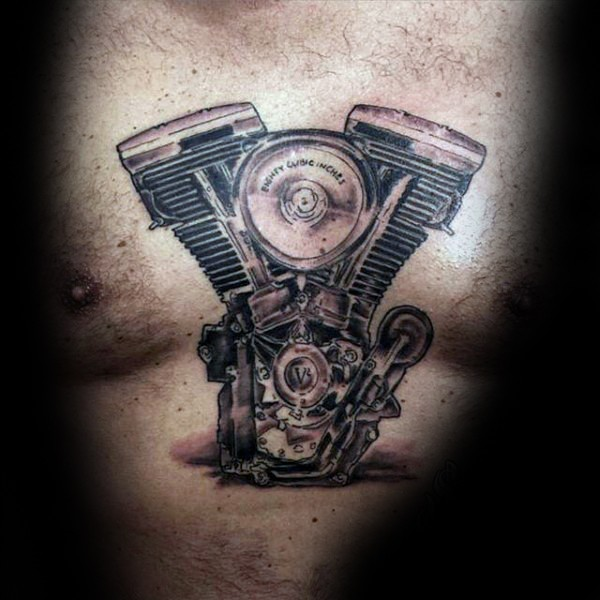 Simple black and gray style bicycle engine tattoo on chest