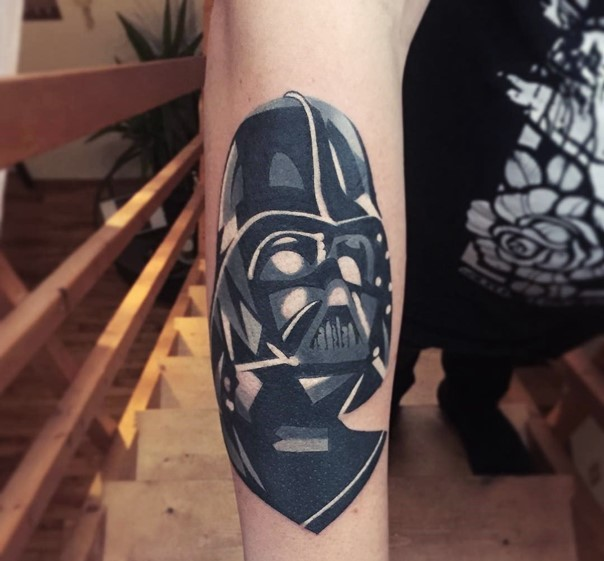 Simple black and white comic books like Vader mask tattoo on forearm