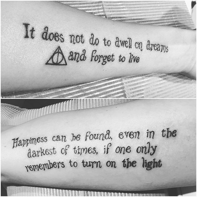 Simple black ink beautiful painted on forearm tattoo of philosophic lettering