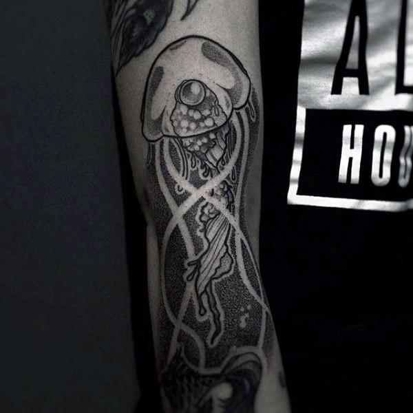 Simple black ink big jellyfish tattoo on arm