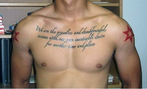 Simple black ink English lettering tattoo on chest