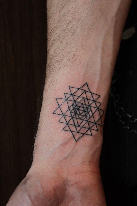 Simple black ink geometrical tattoo on wrist