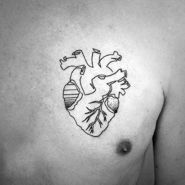 Simple black ink heart tattoo on chest