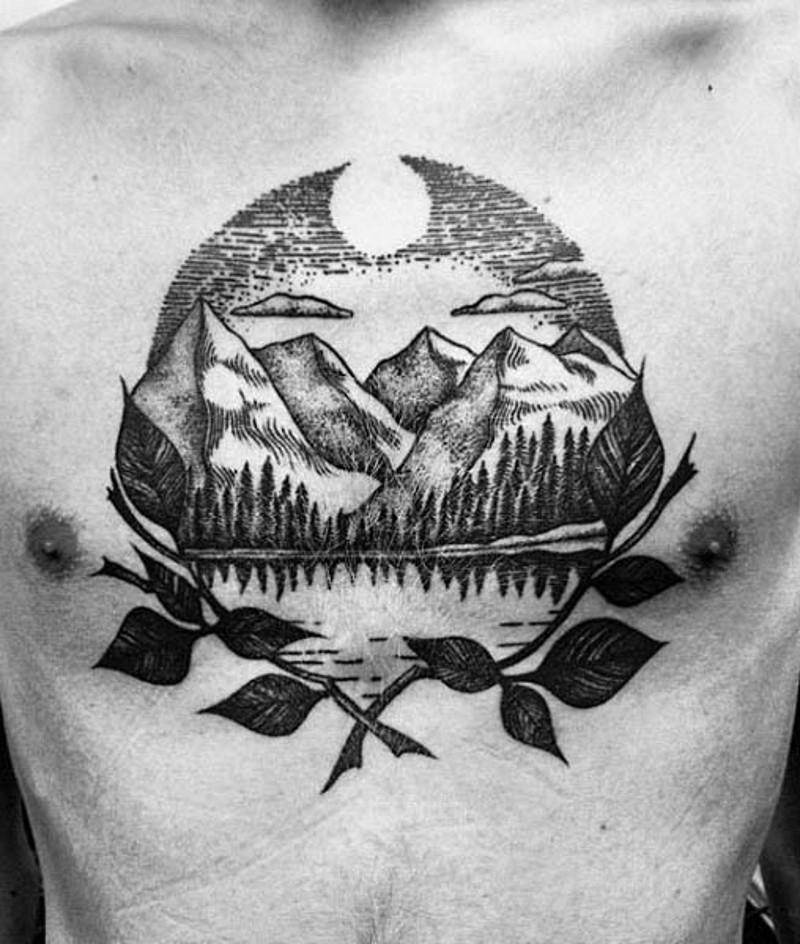 Simple black ink mountain lake tattoo on chest