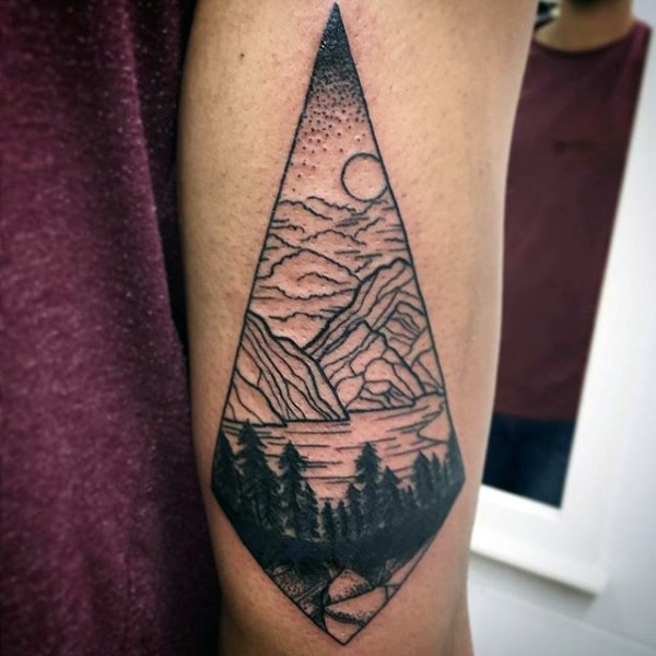 Simple Black Ink Mountain Lake With Forest Tattoo On Arm