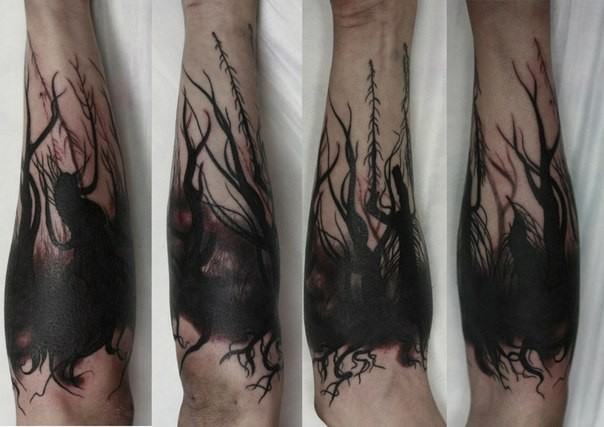 Simple black ink mystical big forest tattoo on arm