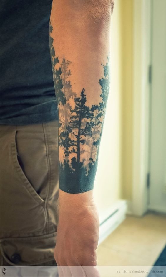 Simple black ink mystical dark forest forearm tattoo
