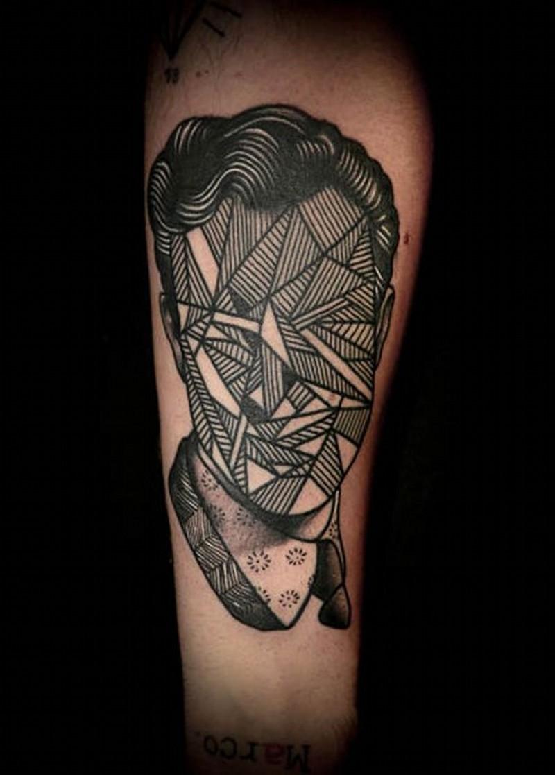 Simple black ink mystical faceless portrait tattoo on leg