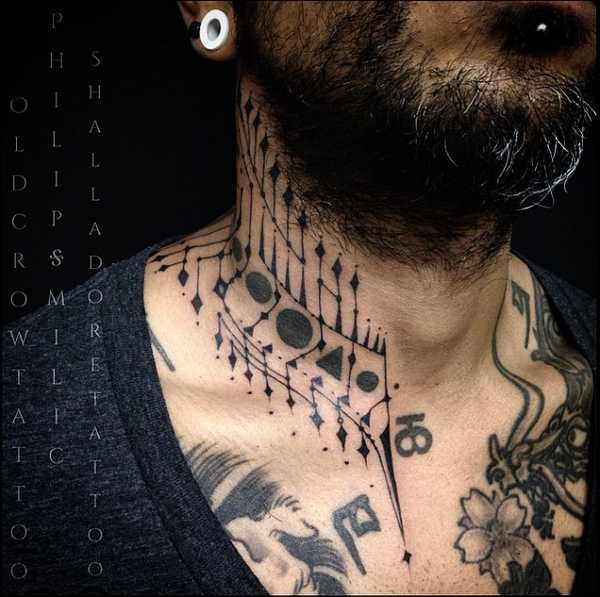 Simple black ink neck tattoo of various ornaments