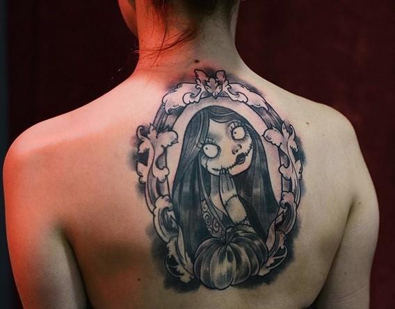 Simple black ink old school Nightmare before Christmas girl hero tattoo on upper back
