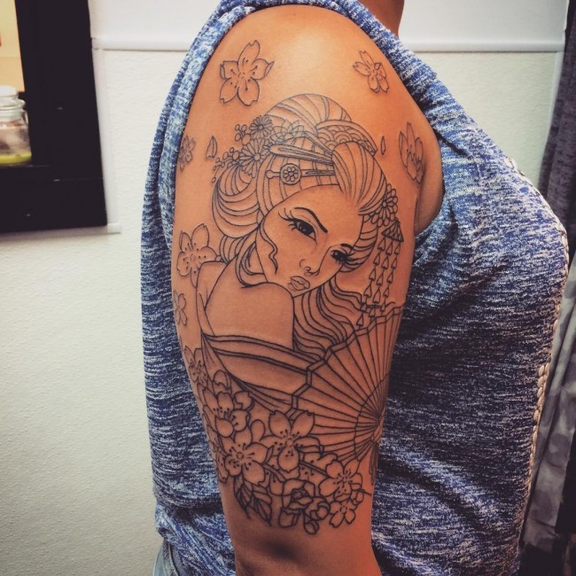 Simple black ink shoulder tattoo of Asian woman with fan and flowers