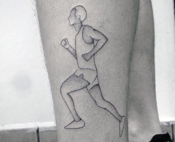 Simple black ink thigh tattoo of running man