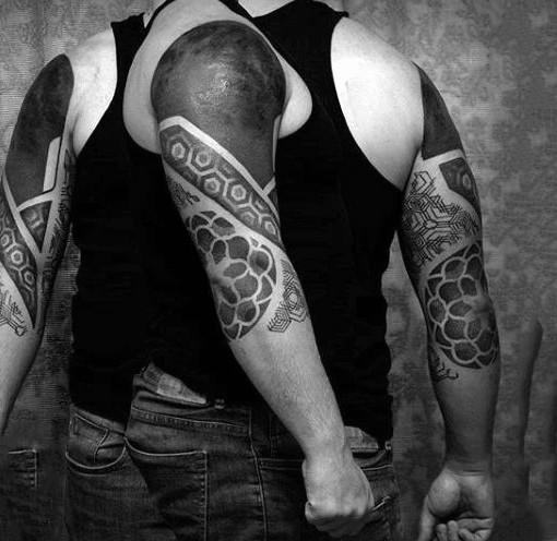 Simple black ink tribal ornaments tattoo on half sleeve