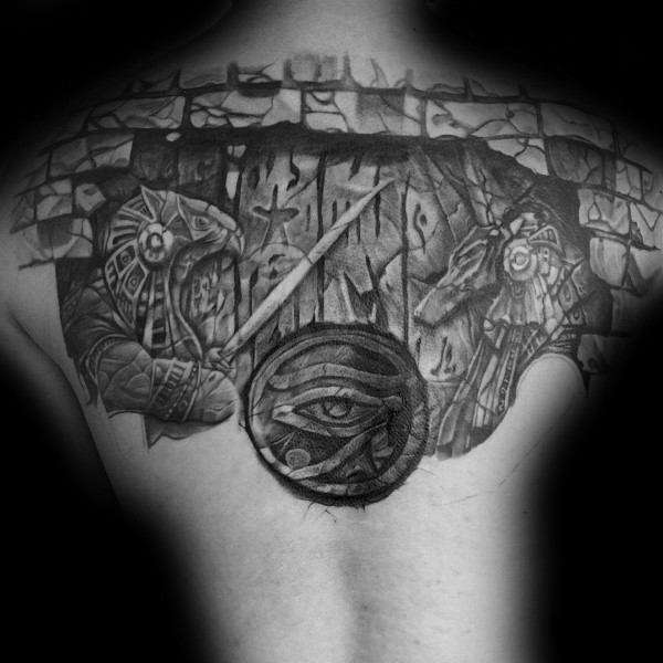 Simple black ink upper back tattoo of Egypt Gods with tablet