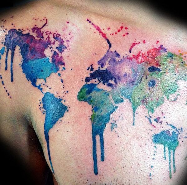 Simple carelessly painted watercolor chest tattoo of world map simple carelessly painted watercolor chest tattoo of world map gumiabroncs Choice Image