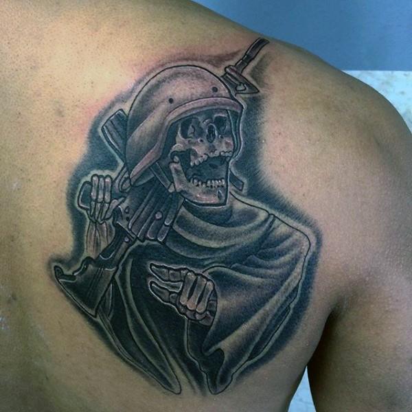 simple cartoon like black and white soldiers skeleton tattoo on shoulder. Black Bedroom Furniture Sets. Home Design Ideas