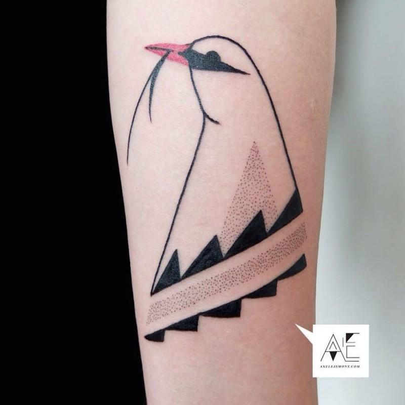 Simple colored arm tattoo of beautiful bird