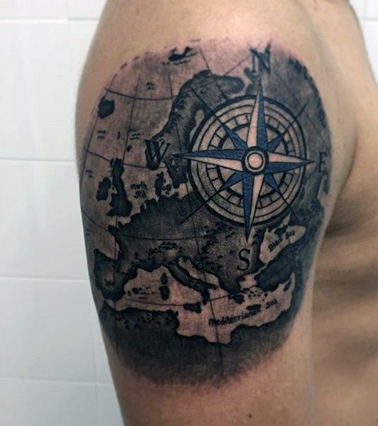 Simple Colored Big World Map Tattoo On Shoulder