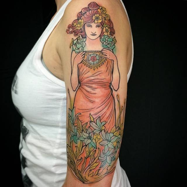 Simple colored illustrative style woman with flowers tattoo on shoulder