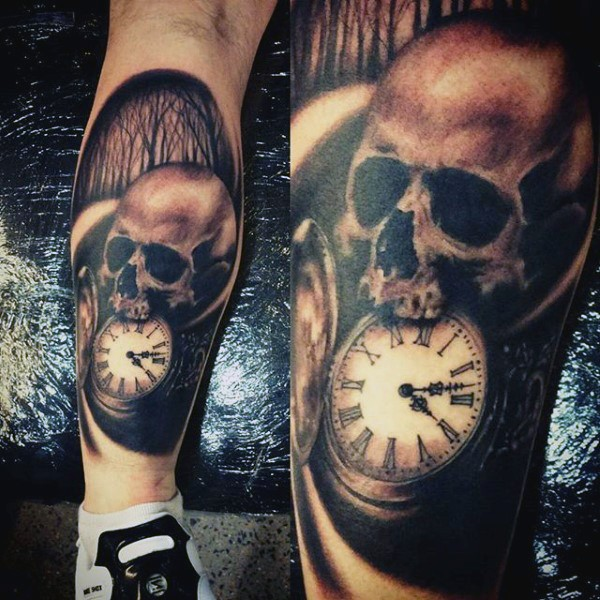 Simple combine colored skull with pocket clock tattoo on leg