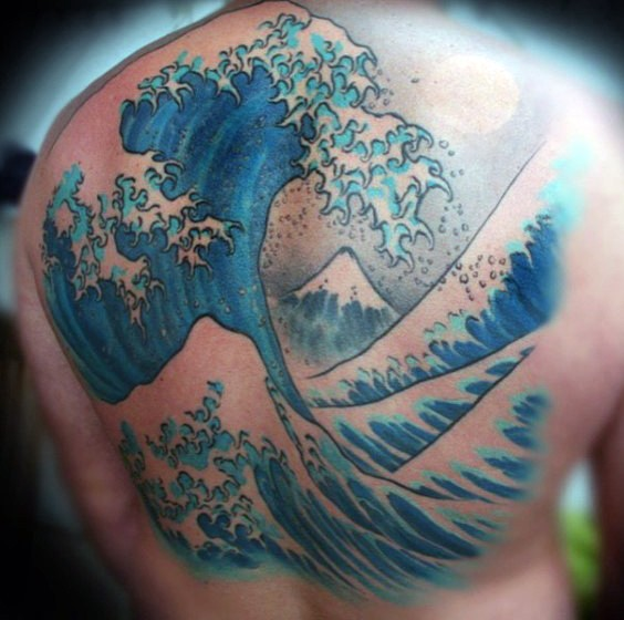 Simple designed big colored ocean waves tattoo on back