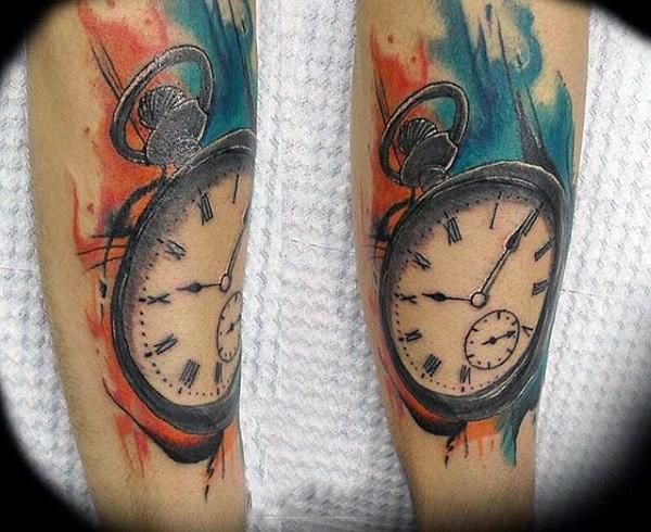 Simple designed big colored pocket clock tattoo on arm