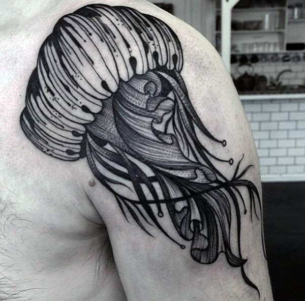 Simple designed black and white big jellyfish tattoo on shoulder area