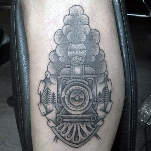 Simple designed black and white old train tattoo on arm