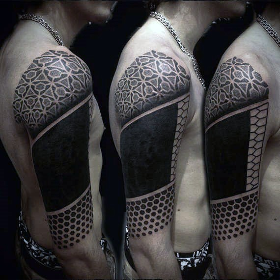 Simple designed black ink geometrical tribal half sleeve tattoo
