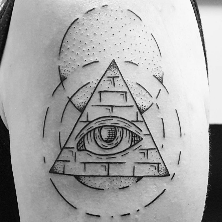 Simple designed black ink Masonic pyramid with eye shoulder tattoo