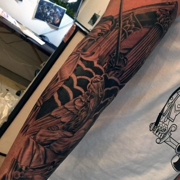 Simple designed black ink old Greece gods tattoo on arm