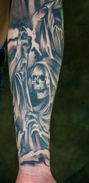 Simple designed black ink skeleton Death tattoo on arm
