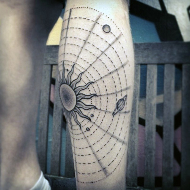 Simple designed black ink solar system tattoo on arm